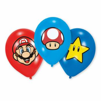 6 Ballons latex quadri Mario Bros