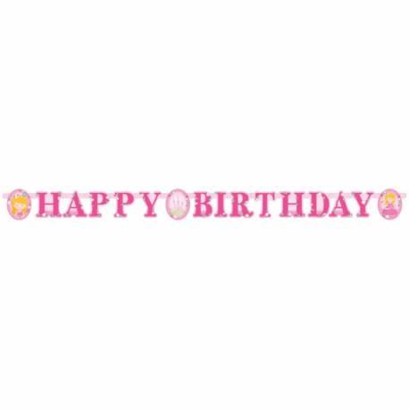 Banderole Happy Birthdaysur le thème My Princesse idéal pour convier les amis à l'anniversaire de votre fille Matière:...