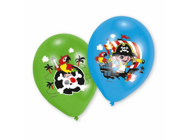 Ballons anniversaire latex quadri Pirate