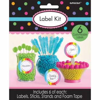 6 étiquettes à candy bar multicolore