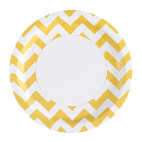 8 Assiettes en carton chevrons jaune Dimension: Ø 23 cm