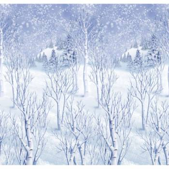 Décor mural géant forêt enneigé