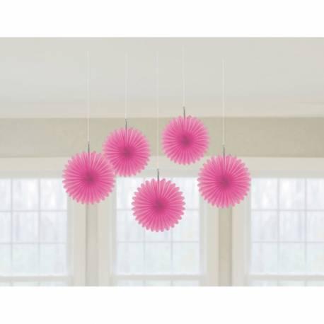 5 suspensions éventail en papierde couleur fuschiaidéal pour la décoration de vos salles d'anniversaire, mariage, baptème et Candy...
