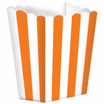 5 Boîtes Pop corn rayures orange