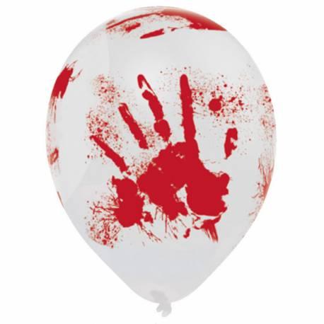 6 Ballons en latex avec tâche de sang pour la déco de votre fête d'Halloween.