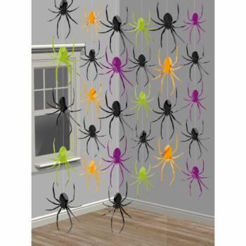 6 suspensions halloween araignées
