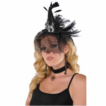 Serre tête mini chapeau araignée luxe