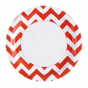 8 Assiettes carton chevrons orange
