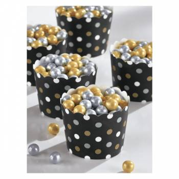 36 Mini pots snack à pois noir or argent