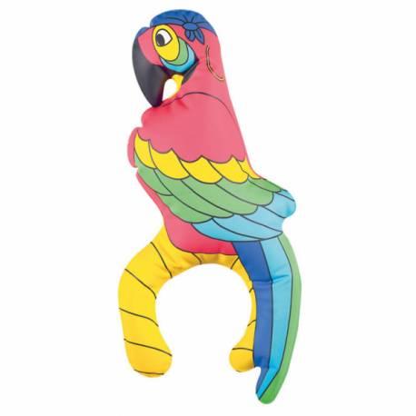 Perroquet gonflable pour agrémenter un déguisement de pirate Il se bloble sur l'épaule grâce à sa forme en U Taille 27 cm