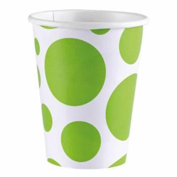 8 Gobelets carton pois vert