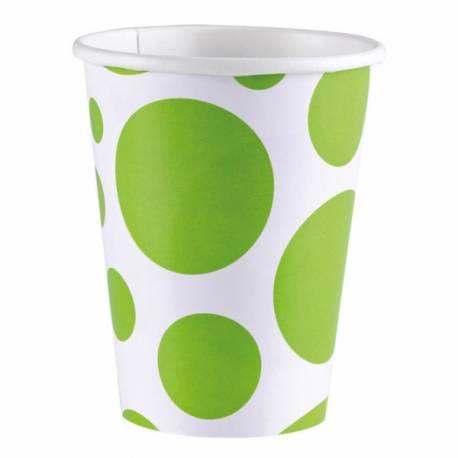 8 Gobelets en carton à pois jaune à pois vert Contenance : 25 ml