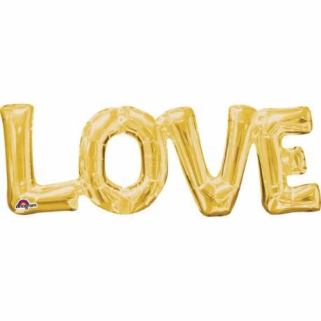 Ballon aluminium pouvant être gonflé à l'air à l'aide d'une paille ou d'une petite pompe En forme de LOVE or Dimensions : 63 cm x 22 cm