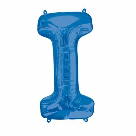 Megaballon aluminium en forme de lettre pouvant être gonflé avec ou sans hélium à l'aide d'une paille Lettre I couleur bleu Dimensions...