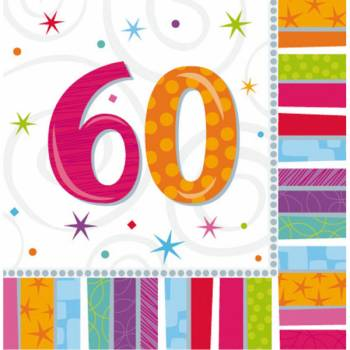 16 Serviettes 60 ans Colorstars