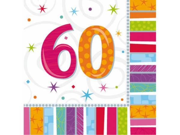 deco anniversaire serviettes 60 ans colorstars. Black Bedroom Furniture Sets. Home Design Ideas