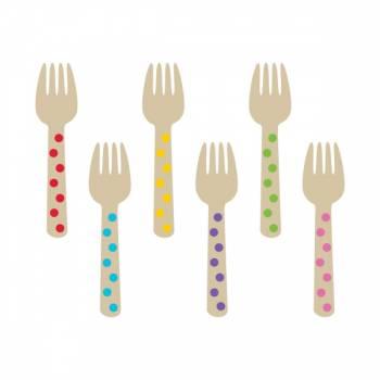 12 Minis fourchettes en bois pois multicolore