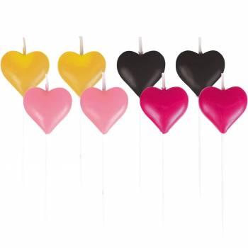 8 mini bougies coeur