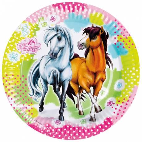 8 assiettesen carton pour anniversaire thème cheval Ø 23 cm