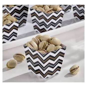 36 Mini cup carrée snack chevrons noir or argent