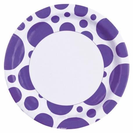 8 Assiettes en carton à pois violette Dimension: Ø 23 cm