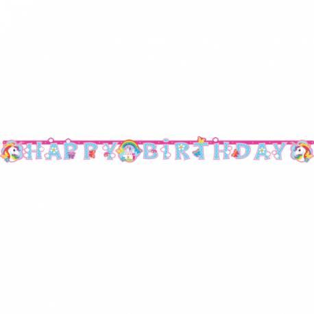 Guirlande anniversaire Licorne Color pour la décoration anniversaire de votre enfant. Dimensions : 180 cm x 15 cm