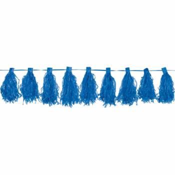 Guirlande pompons franges bleue