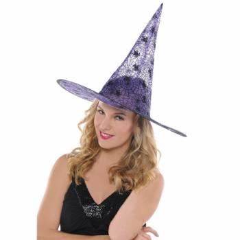 Chapeau de sorcière violet araignée