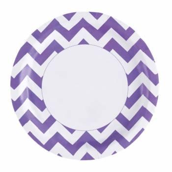 8 Assiettes carton chevrons violette