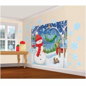 Kit mural géant Bonhomme de neige avec flocons