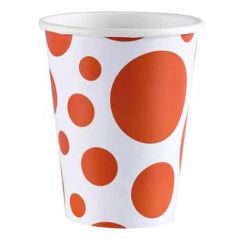 8 Gobelets carton pois orange
