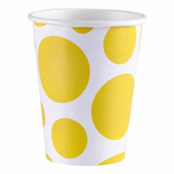 8 Gobelets carton pois jaune