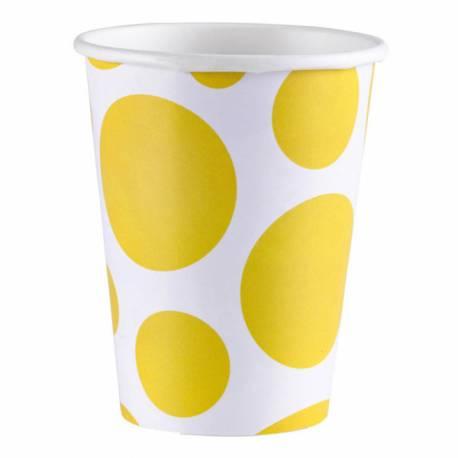 8 Gobelets en carton à pois jaune à pois jaune Contenance : 25 ml