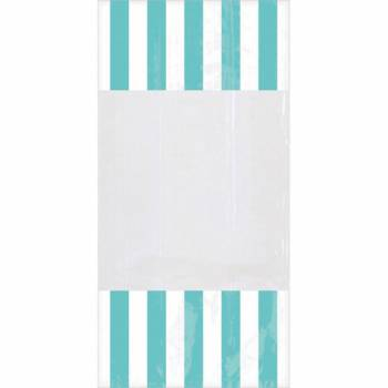 10 sacs à confiseries rayures turquoises