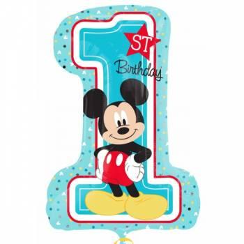 Ballon aluminium Mickey chiffre 1 an - Deco Anniversaire.fr