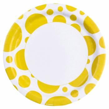 8 Assiettes carton pois jaune
