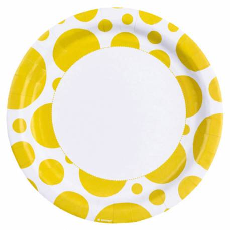 8 Assiettes en carton à pois jaune Dimension: Ø 23 cm