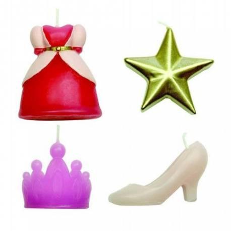 Lot de bougies Princesses pour la décoration anniversaire de votre enfant.4Bougiesthème princesse Dimensions : 4.4 cm