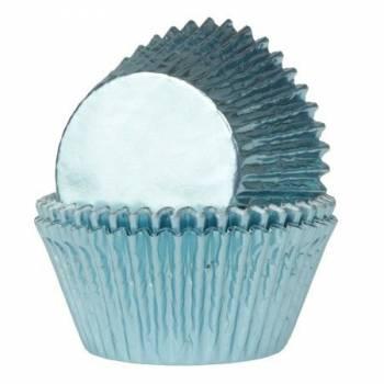 24 Caissettes cupcakes métal bleu bébé