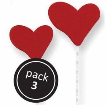 3 Coeurs en sucre rouge sur tige PME