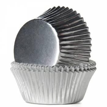 24 Caissettes cupcakes métal argent