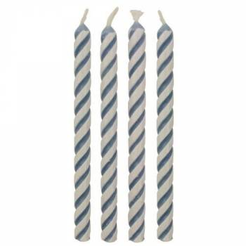 24 Bougies rayures bleu et blanches