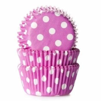 60 Mini caissettes cupcakes fuschia à pois