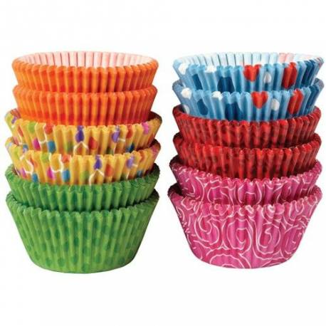 Assortiment de 300 caissettes à cupcakes Wilton prévus pour la cuisson.A utiliser avec 1 moule à muffins50 caissettes turquoise a...