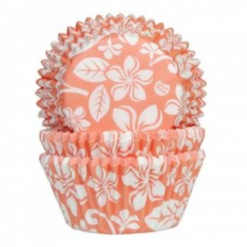 50 Caissettes cupcakes Aloha orange