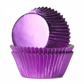 24 Caissettes cupcakes métal fuchsia