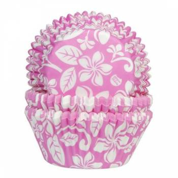 50 Caissettes cupcakes Aloha rose