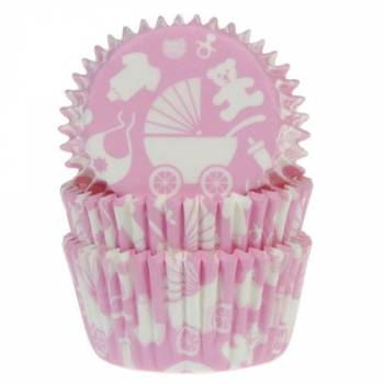 50 Caissettes Baby rose