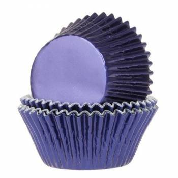 24 Caissettes cupcakes métal bleu marine