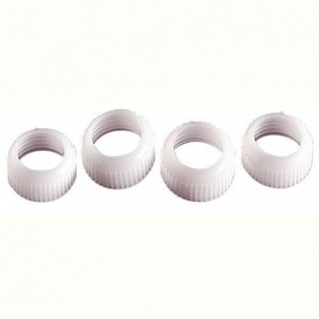 Jeu de 4 anneaux pour raccord. Ils vous permettent d'utiliser toutes les douilles métalliques de décoration de Wilton avec les tubes de...